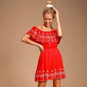"Lulu's ""Send Me Flowers"" Ruffle Embroidered Dress"